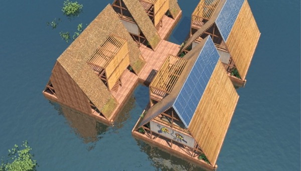 Floating houses will be able to link together, forming shared community spaces